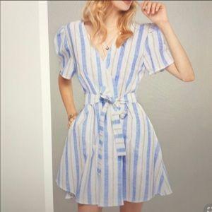Storets Jillian Stripe Linen Wrap Dress
